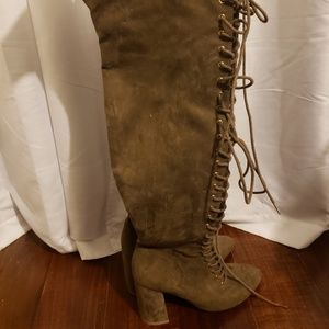 Over the knee strappy heel boots